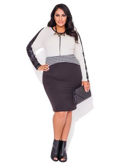 Ashley Stewart Pleather Colorblock Sharkbite Top and Houndstooth Ponte Skirt