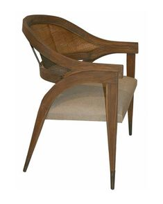 The Aiden Chair's architectural beauty is obvious with both refined curves and a sophisticated material mix. Outfitted with rattan peel backing and capped brass feet, its teak frame has been graciously constructed into a high-end dining chair. Interior Design Principles, Decor Interior Design, Interior Ideas, Furniture Design, Black Dining Chairs, Upholstered Dining Chairs, Wood Chairs, Desk Chairs, Art Nouveau