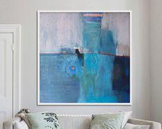 grand imprimé abstrait de la peinture, bleu peinture impression, impression jet d'encre, «Paysage bleu»