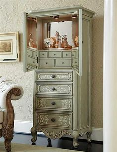 SCARBOROUGH FAIR ARMOIRE VANITY via Victorian Trading Co. / > what a great place to hide makeup & jewelry