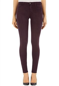 J Brand Mid Rise Luxe Sateen Super Skinny in Pinot | ShopAmbience.  The new J Brand Luxe Sateen is the most amazing fabric and it is incredibly soft and comfortable.  J Brand just keeps getting better and better.  #JBrandJeans #ColorJeans