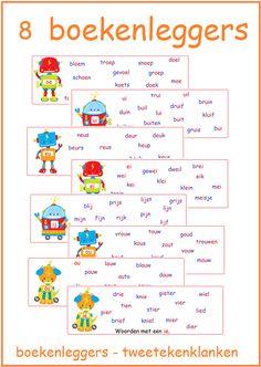 Thema 11. Goed te gebruiken bij Lijn 3 en Veilig Leren Lezen. Leuke boekenleggers met de tweetekenklanken.