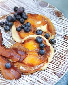 Nectarine Pancakes _ We served these pancakes with crisp bacon and fresh blueberries.