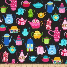 Teapots Black/Multi from @fabricdotcom  Designed for Fabric Traditions, this cotton print is perfect for quilting and craft projects as well as apparel and home décor accents. Colors include pink, fuchsia, green and blue on a black background.