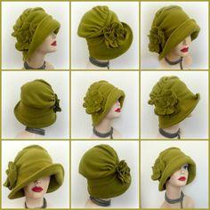 Cloche Hat Winter Fleece Cloche Formal Chemo Hat por TheWaughdrobe