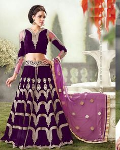 Purple anarkali suit with front slit   1. Purple Velvet Anarkali Suit with front slit2. Golden thread embroidery all over3. Net and Velvet sleeves and matching Pants4. Can be stitched upto size 42 inches