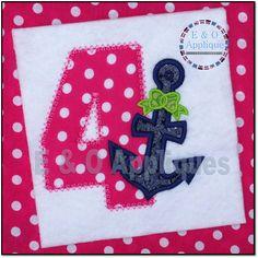 Anchor Bow 4 Birthday Applique Design