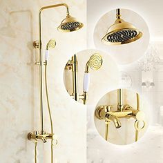 General Copper Antique Bath Shower Set EuropeanWide Golden Bathroom Shower Hot And Cold Tap *** Find out more about the great product at the image link.  This link participates in Amazon Service LLC Associates Program, a program designed to let participant earn advertising fees by advertising and linking to Amazon.com.