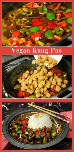 chinese meals Textured Vegetable Protein (TVP) is the secret to our Vegan Kung Pao. A suitable substitute for Chicken in the classic Chinese meal. It soaks up the flavours perfectly. Also an added bonus to this recipe, it's ready to serve in 30 minutes! Best Dinner Recipes, Delicious Vegan Recipes, Quick Recipes, Asian Recipes, Vegetarian Recipes, Healthy Recipes, Ethnic Recipes, Chinese Food, Chinese Takeaway