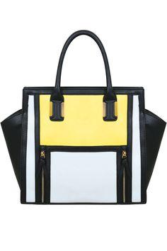 Black, White & Yellow Colour Block Tote Handbag