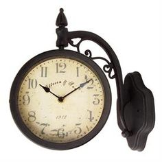 Double Sided Clock Train Station Outdoor Wall Clocks Hanging