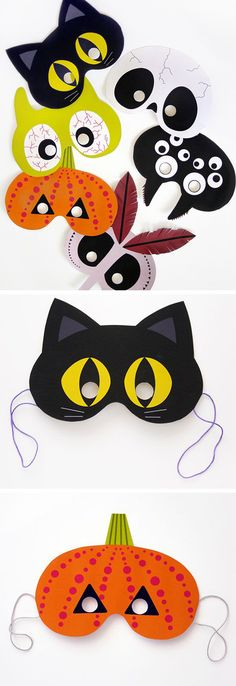 Stickers such as cats, pumpkins, owls, for decorating the room, tables, windows, will be an excellent choice. Also you can buy or make masks for face, you're kids will be thrilled.