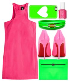 """Pretty Party"" by egordon2 ❤ liked on Polyvore featuring Dsquared2, Under Cover, Christian Louboutin, Liza Schwartz, Essie, Casetify, Pink, pretty, GREEN and party"
