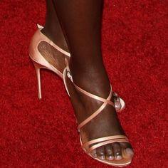 "71aa1ed15e4 Lupita Nyong o showing off her feet in Christian Louboutin ""Gwynitta""  sandals"