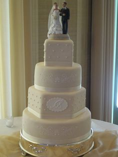 A wedding cake we just finished.  14 round, 12 hexagon, 9 round, and 5.5 square tiers.  These tiers were tall, 5 each, with four layers of cake and filling in each.  3 different flavors including dark chocolate, vanilla bean and spice cake.  Covered with homemade antique ivory g