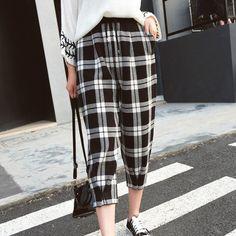 Hitz Korean plaid pants seven knitting Haren pants female elastic waist baggy pants F1358