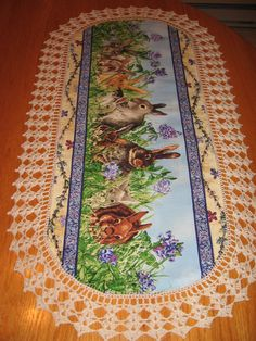 CUSTOM order  Aunt Roo's So Many Bunnies fabric table by auntroo, $28.00