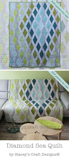 Diamond Sea Quilt - PDF Pattern by Stacey's Craft Designs                                                                                                                                                      More