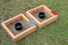 "Washer Toss - 16""x16"" Playing area (make with 1x4s for weight...) with a 4"" PVC pipe for the hole. 1"" or 2"" washers, painted. Add a string/cord that is 20' long so you know how far apart to place them."