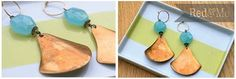 Blue Chalcedony and Vintage Copper Earrings