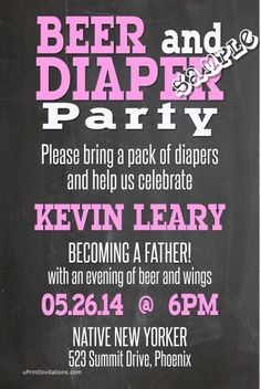 Beer and diaper baby shower invitations pink. Design online, print immediately!