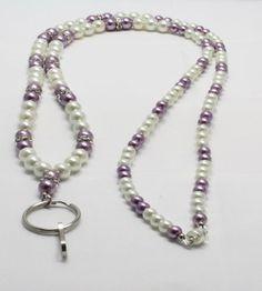Lavender Glass Pearl Lanyard by LandLJewelryDesigns on Etsy, $20.00