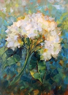 ❀ Blooming Brushwork ❀ - garden and still life flower paintings - Nancy Medina | Blue Shadows White Hydrangea