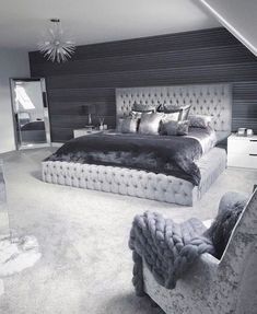 33 Amazing Cozy Master Bedroom Design Ideas You are in the right place about bedroom inspirations master Here we offer. Modern Bedroom Design, Master Bedroom Design, Contemporary Bedroom, Modern Grey Bedroom, Bedroom Neutral, Beds Master Bedroom, Silver And Grey Bedroom, Silver Bedroom Decor, Grey Carpet Bedroom