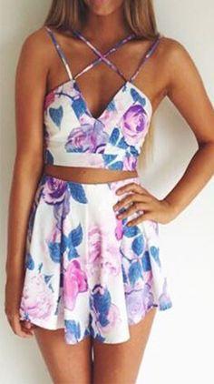 Floral cropped shorts set