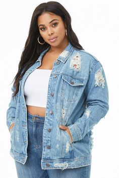 6fc7b9f6594 Plus Size Shredded Denim Jacket Plus Size Outerwear