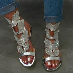 Descriptions: Upper Material: Microfiber Fabric Occasion: Daily,Outdoor,Party Toe Shape: Peep Toe Closure Type: Elastic Band Heel Height: Low Heel Type: Flat H Sliver Heels, Black Sandals, Women's Sandals, Sneaker Outfits, Sneakers Mode, Rhinestone Sandals, Silver Rhinestone, Low Heel Shoes, Low Heels