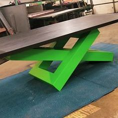 Love the way the black ash contrasts the lime green base! This table. Iron Furniture, Steel Furniture, Industrial Furniture, Custom Furniture, Table Furniture, Furniture Design, Modern Desk, Modern Table, Luxury Dining Tables
