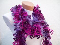Purple Pink  Knit Scarf Winter Accessories Fall Fashion by nurlu,