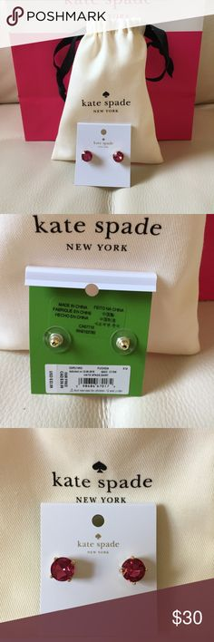 NWT KATE SPADE NEW YORK EARRINGS FUSCHIA  DUST BAG Brand: Kate spade New York fuschia earrings              Condition: New with tag || One size || comes with dust bag      📌NO  TRADES  🛑NO LOWBALL OFFERS  ⛔️NO RUDE COMMENTS  🚷NO MODELING  ☀️Please don't discuss prices in the comment box. Make a reasonable offer and I'll either counter, accept or decline.   I will try to respond to all inquiries in a timely manner. Please check out the rest of my closet, I have various brands.. kate spade…