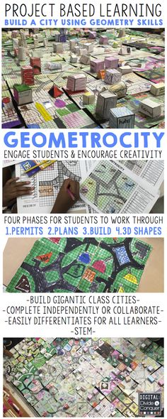 Push students to create their own city using geometry skill! Geometrocity is a project based learning activity aimed to engage and excited kids as they plan, design, and build their own community. This easily differentiates for levels of learners. Math Teacher, Math Classroom, Teaching Math, Flipped Classroom, Math Resources, Math Activities, Fun Math, Maths, Math Enrichment