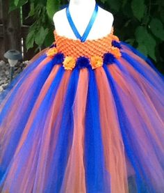 Orange and royal blue tutu dress with shabby chic flowers, flower girl dress, NFL tutu. Shop here: www.etsy.com/listing/202407553/orange-and-royal-blue-tutu-dress-with