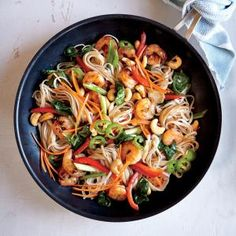 Chili-Garlic Shrimp and Noodle Stir-Fry | MyRecipes.com #myplate #protein #wholegrain #veggies