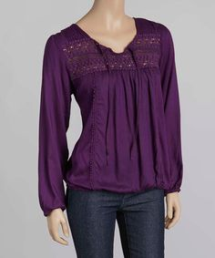 Another great find on #zulily! Purple Woven Top #zulilyfinds