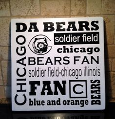 New Da Bears Chicago Bears Foot Ball Sport Subway by TheWordSister, $30.00