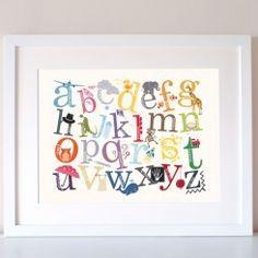 Alphabet Decorative Colourful Nursery Wall Print