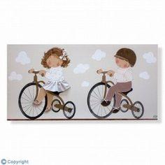 Cuadro infantil Niños en triciclo