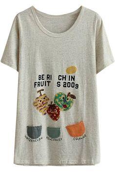 (オッサエプ)OASAP スイートプリント半袖Tシャツ ワンサイズ ライトグレー