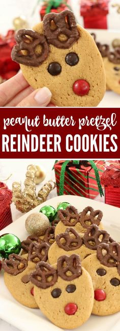 Adorable Peanut Butter Pretzel Reindeer Cookies for Christmas! A fun Dessert and Holiday Treat Recipe for Parties, Cookie Exchanges, Easy Gift Idea for Anyone!