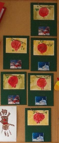 Ημερολόγιο με ρόδι, ζωγραφισμένο με λαδοπαστέλ. Φόντο με νερομπογιά. - Νηπιαγωγείο Σγουροκεφαλίου Coasters, Coaster
