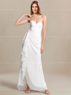 Simple beach wedding dress features a soft sweetheart crisscross pleated bodice with floral details at side.