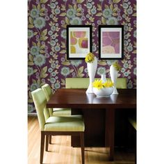 Bloom Plum Purple Floral Wallpaper