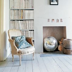 White painted wood floors, fireplace ideas