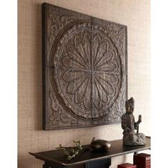 Ornately detailed wall art made from banana tree bark compressed over metal embossing creates a unique focal point for any room. Handcrafted of banana tree bark, fir, and metal. Decor, Large Wall Decor, Rustic Wall Art, Asian Decor, Metal Wall Decor, Rustic Walls, Home Decor, Large Wall Art, Wood Wall Decor