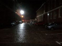 Cobbled street on a rainy night (landscape)