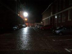 Cobbled street on a rainy night (landscape)